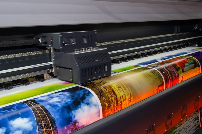 Large format printing machine in operation Industry