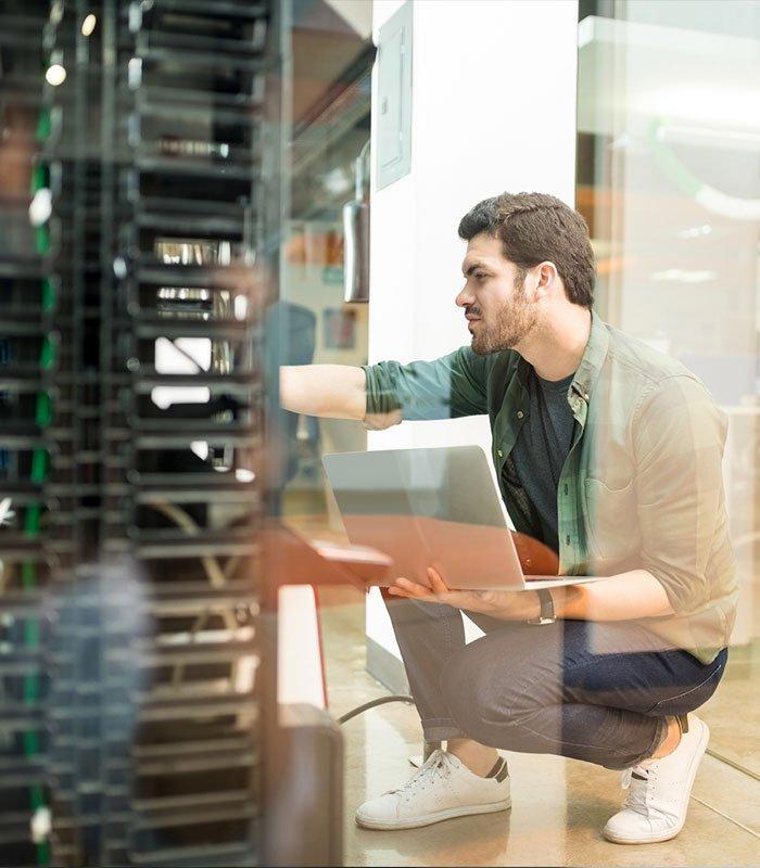 Network administrator in server room