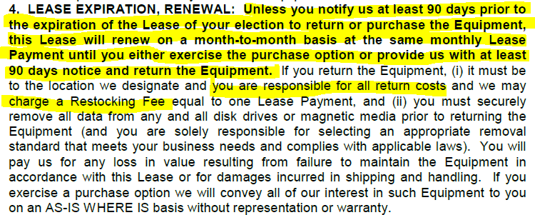copier lease expiration and renewals