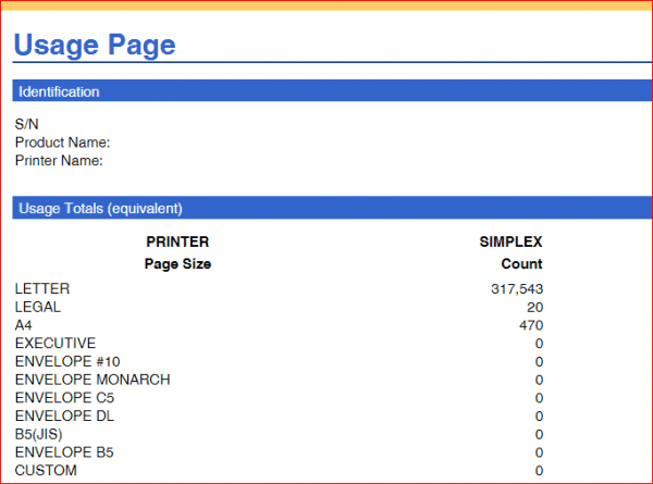 printer requirements usage page